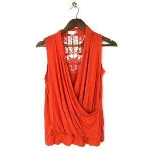 Kenar Blouse Top Size Large Orange Crochet Back